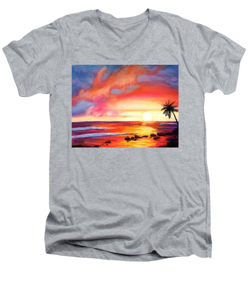 Men's V-Neck T-Shirt featuring the painting Kauai West Side Sunset by Marionette Taboniar