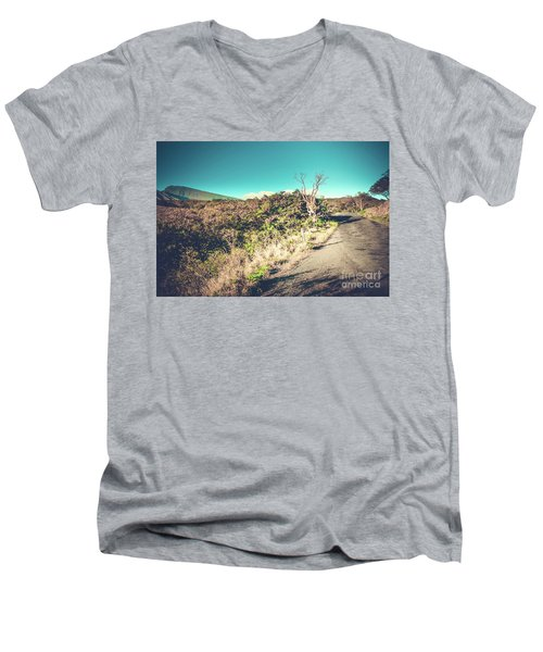 Kaupo Other Road To Hana Sunset Piilani Highway Maui Hawaii Men's V-Neck T-Shirt by Sharon Mau