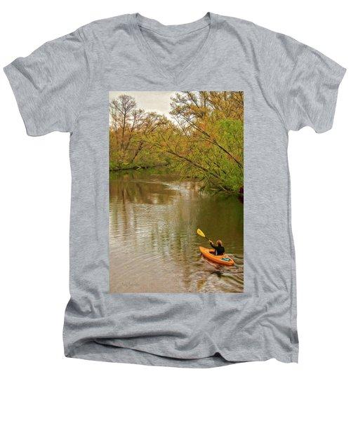 Kayak At Mead Men's V-Neck T-Shirt