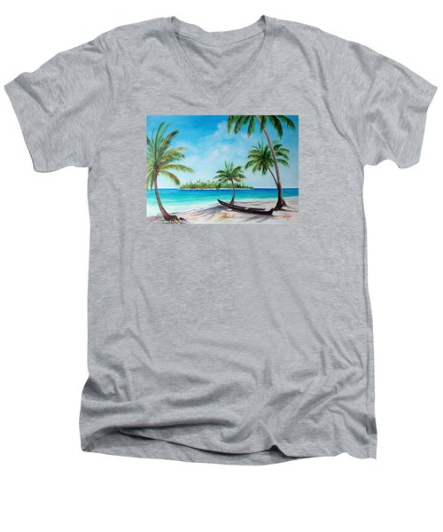 Kayak On The Beach Men's V-Neck T-Shirt by Lloyd Dobson