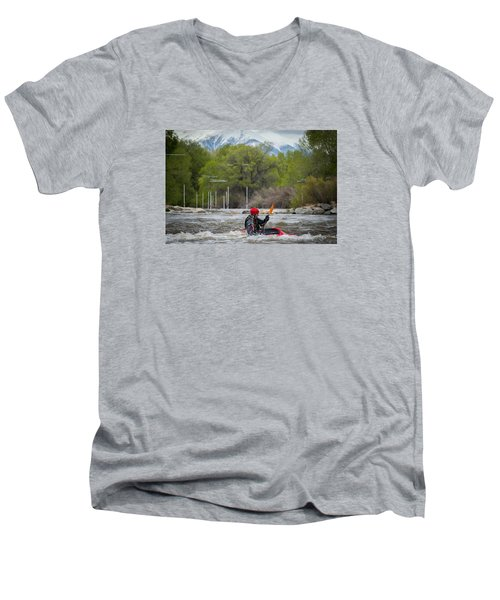 Kayaker On The Arkansas Men's V-Neck T-Shirt