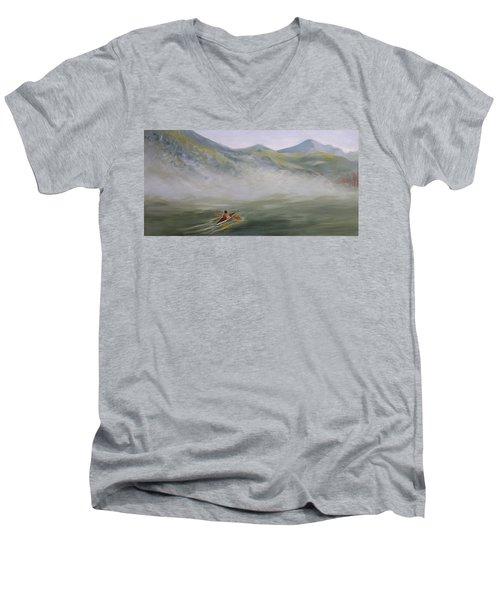 Kayaking Through The Fog Men's V-Neck T-Shirt by Joanne Smoley