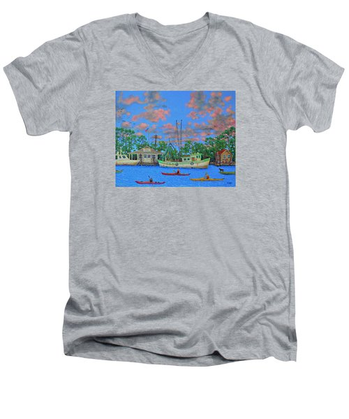 kayaks on the Creek Men's V-Neck T-Shirt by Dwain Ray