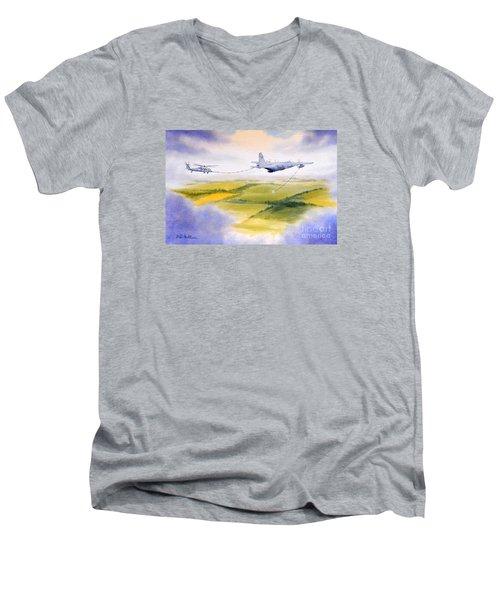 Men's V-Neck T-Shirt featuring the painting Kc-130 Tanker Aircraft Refueling Pave Hawk by Bill Holkham