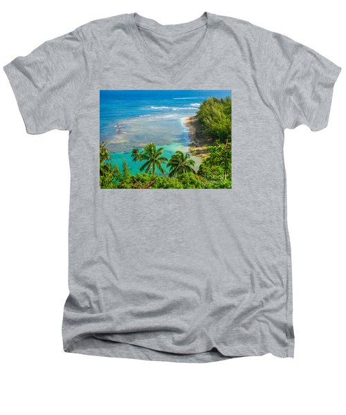 Kee Beach Kauai Men's V-Neck T-Shirt