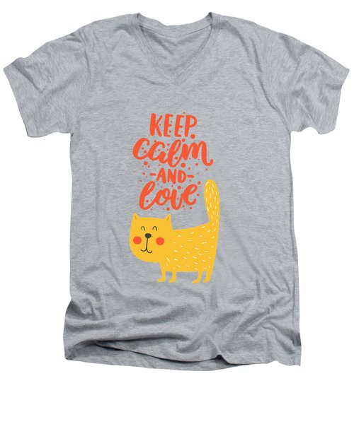 Men's V-Neck T-Shirt featuring the photograph Keep Calm And Love Cute Animals by Edward Fielding