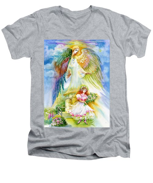 Men's V-Neck T-Shirt featuring the pastel Keep Her Safe Lord by Karen Showell