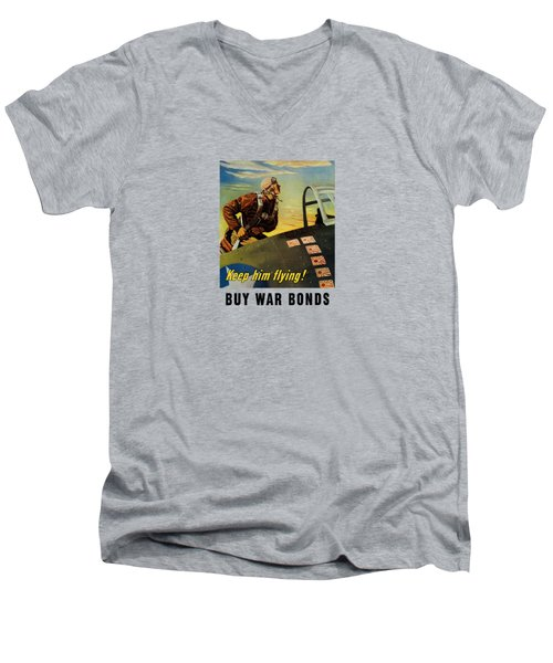 Men's V-Neck T-Shirt featuring the painting Keep Him Flying - Buy War Bonds  by War Is Hell Store