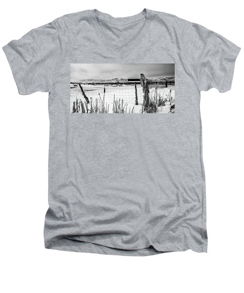 Keeping Watch Black And White Men's V-Neck T-Shirt