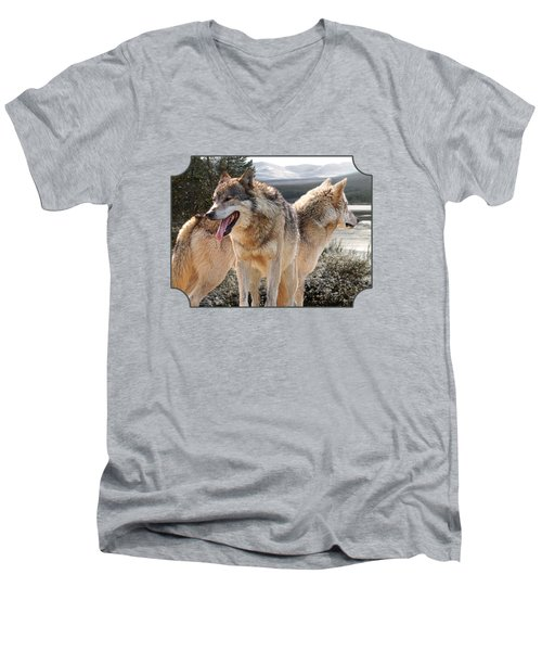 Keeping Watch - Pair Of Wolves Men's V-Neck T-Shirt