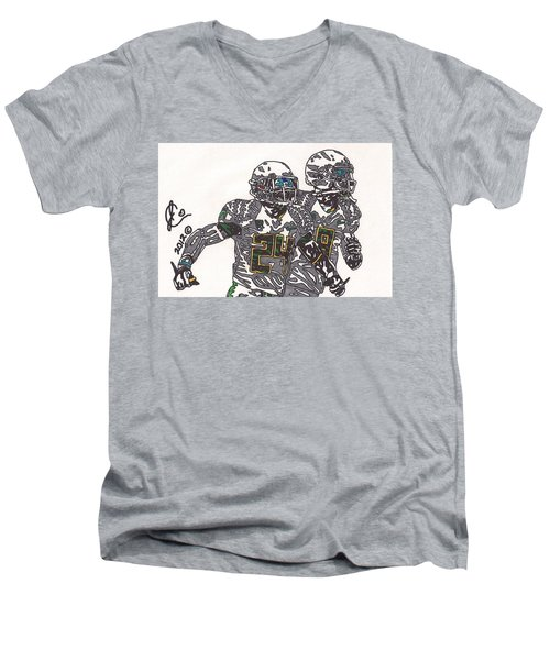 Kenjon Barner And Marcus Mariota Men's V-Neck T-Shirt by Jeremiah Colley