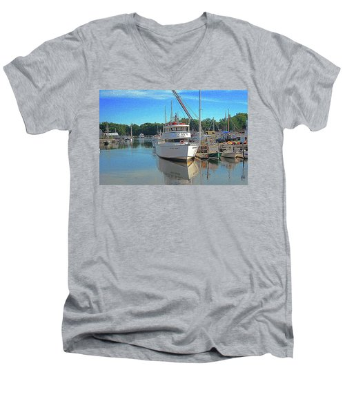 Kennebunk, Maine - 2 Men's V-Neck T-Shirt by Jerry Battle