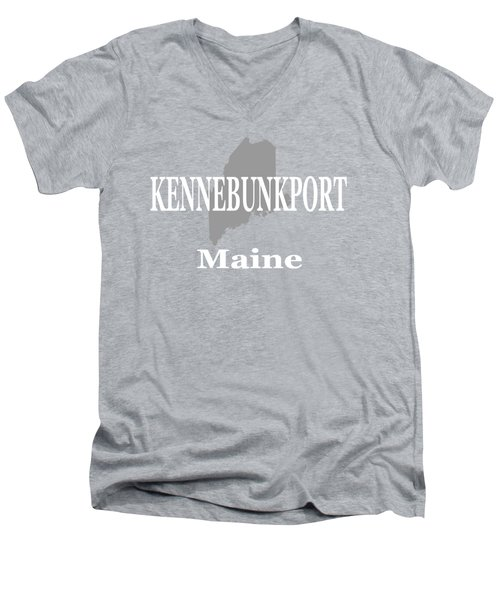 Men's V-Neck T-Shirt featuring the photograph Kennebunk Maine State City And Town Pride  by Keith Webber Jr