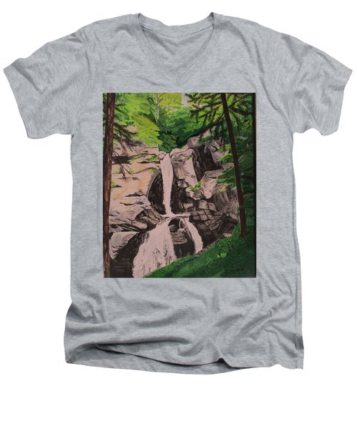 Kent Falls Men's V-Neck T-Shirt by Hilda and Jose Garrancho