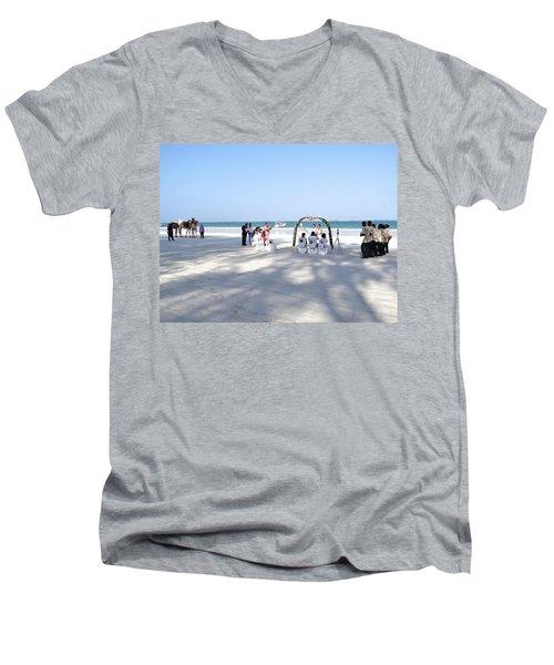 Kenya Wedding On Beach Wide Scene Men's V-Neck T-Shirt by Exploramum Exploramum