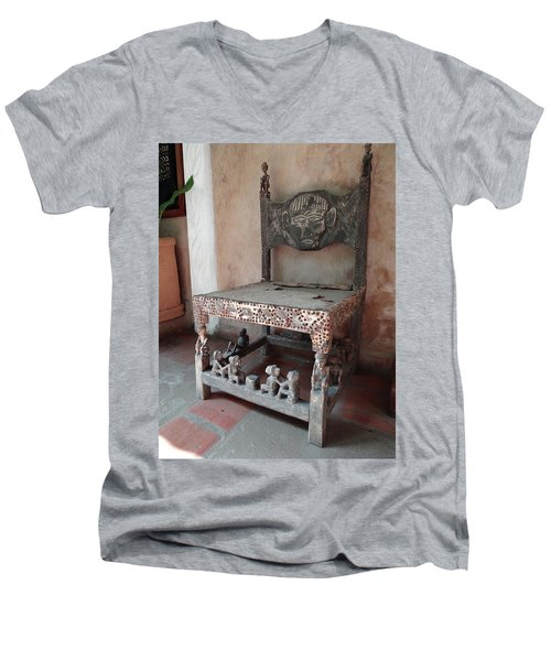 Kenyan African Antique Carved Chair Men's V-Neck T-Shirt by Exploramum Exploramum