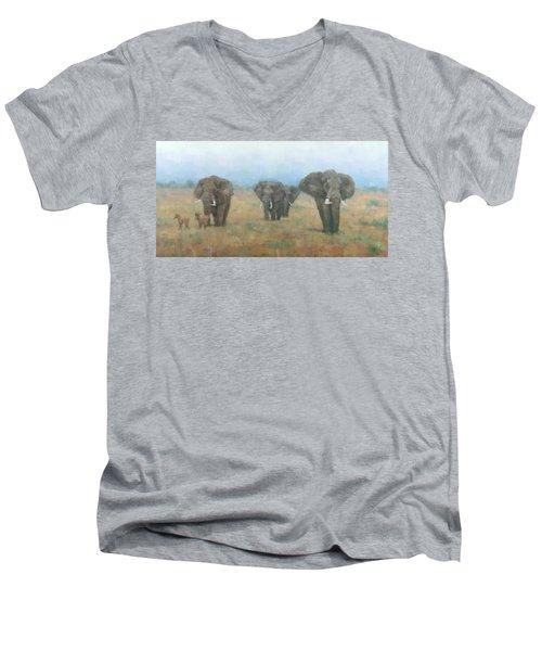 Kenyan Elephants Men's V-Neck T-Shirt