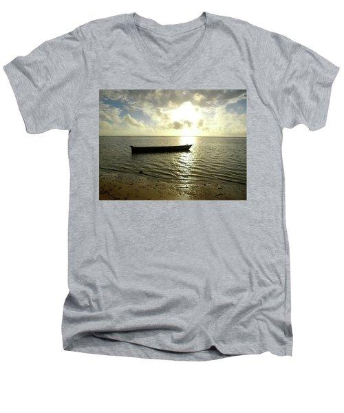 Kenyan Wooden Dhow At Sunrise Men's V-Neck T-Shirt