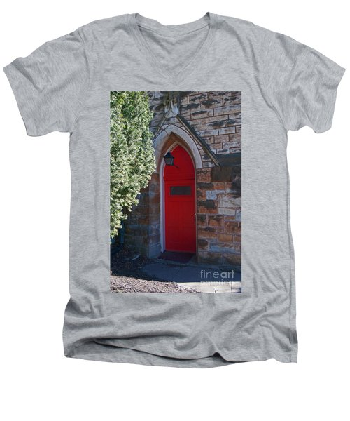 Red Church Door Men's V-Neck T-Shirt