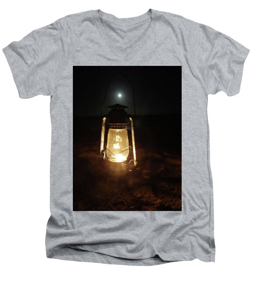Kerosine Lantern In The Moonlight Men's V-Neck T-Shirt by Exploramum Exploramum