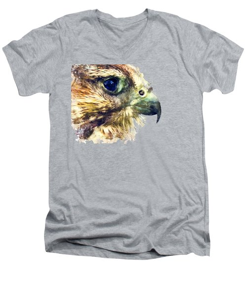 Kestrel Watercolor Painting Men's V-Neck T-Shirt