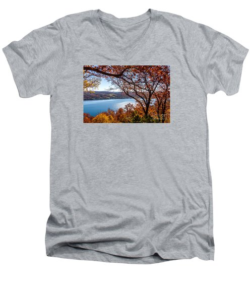 Keuka Lake Vista Men's V-Neck T-Shirt by William Norton