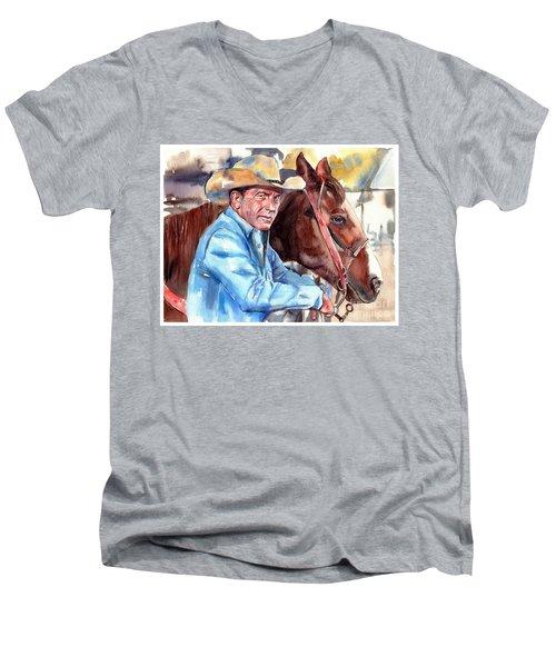 Kevin Costner Portrait Men's V-Neck T-Shirt