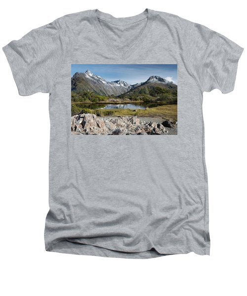 Men's V-Neck T-Shirt featuring the photograph Key Summit View by Gary Eason