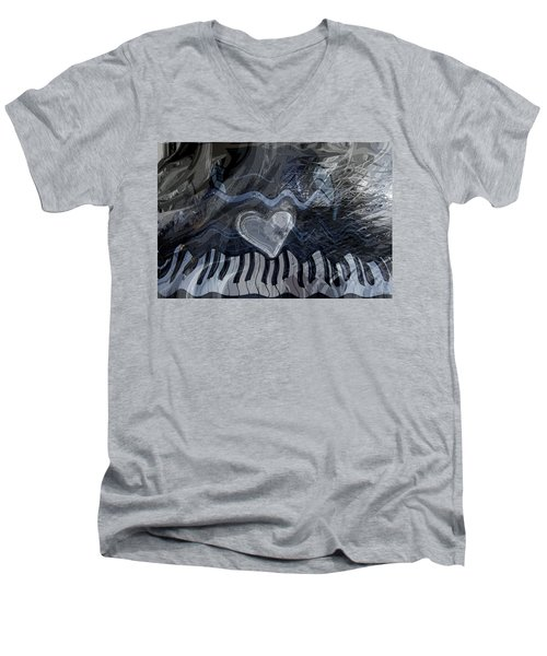 Men's V-Neck T-Shirt featuring the digital art Key Waves by Linda Sannuti