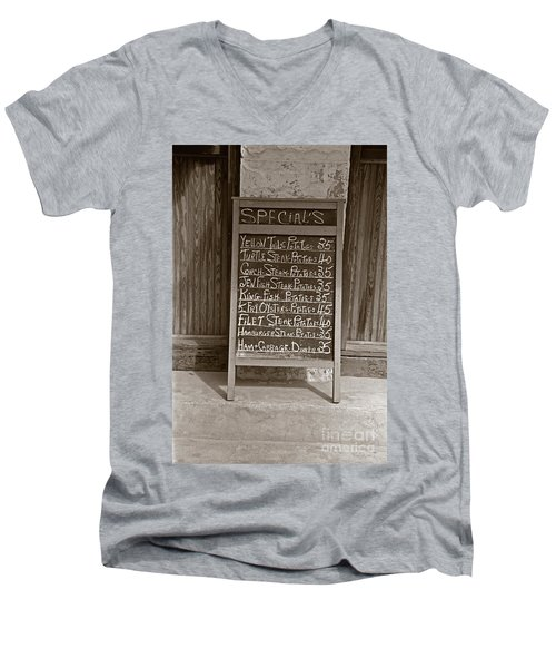 Key West Depression Era Restaurant Specials Men's V-Neck T-Shirt by John Stephens