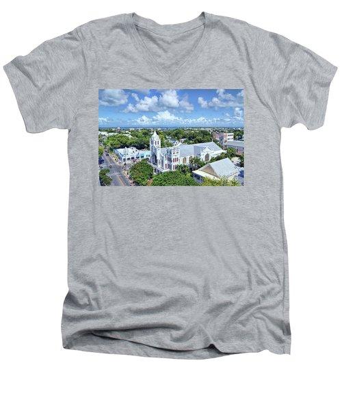 Men's V-Neck T-Shirt featuring the photograph Key West by Olga Hamilton