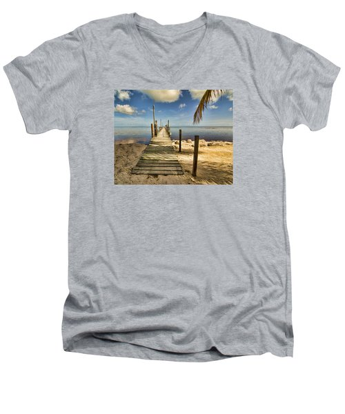 Men's V-Neck T-Shirt featuring the photograph Keys Dock by Don Durfee