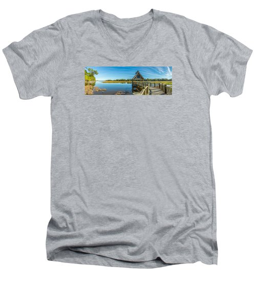Men's V-Neck T-Shirt featuring the photograph Kiawah Island Boathouse Panoramic by Donnie Whitaker
