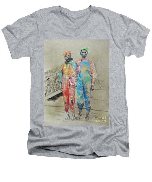 Kickin' It -- Black Children From 1930s Men's V-Neck T-Shirt