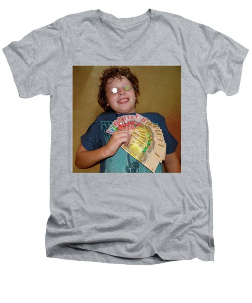 Kid With Money Men's V-Neck T-Shirt by Exploramum Exploramum