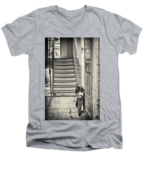 Kid's Bike Men's V-Neck T-Shirt by Silvia Ganora
