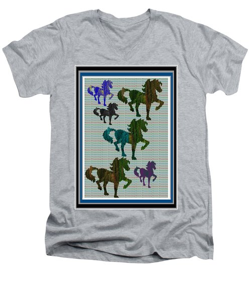 Kids Fun Gallery Horse Prancing Art Made Of Jungle Green Wild Colors Men's V-Neck T-Shirt