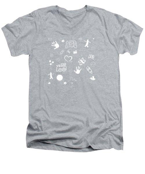 Kids Playful Background Pattern Men's V-Neck T-Shirt by Serena King