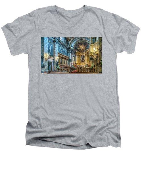 Kielce Cathedral In Poland Men's V-Neck T-Shirt