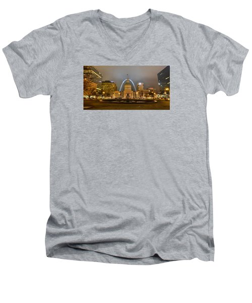 Kiener Plaza And The Gateway Arch Men's V-Neck T-Shirt by Matthew Chapman