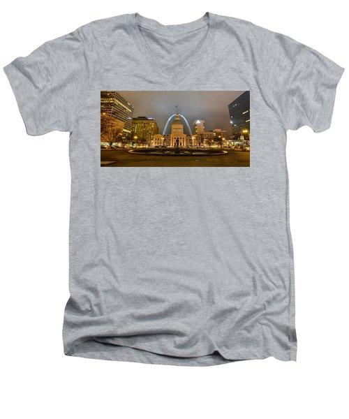 Kiener Plaza And The Gateway Arch Men's V-Neck T-Shirt
