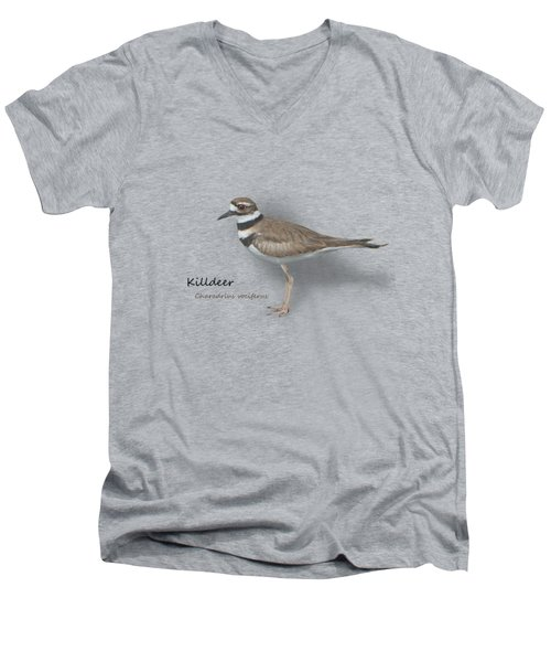 Killdeer - Charadrius Vociferus - Transparent Design Men's V-Neck T-Shirt by Mitch Spence