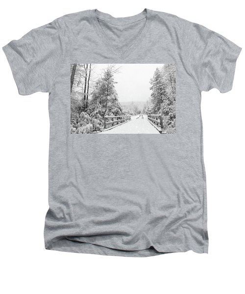 Men's V-Neck T-Shirt featuring the photograph Kindness Is Like Snow by Lori Deiter