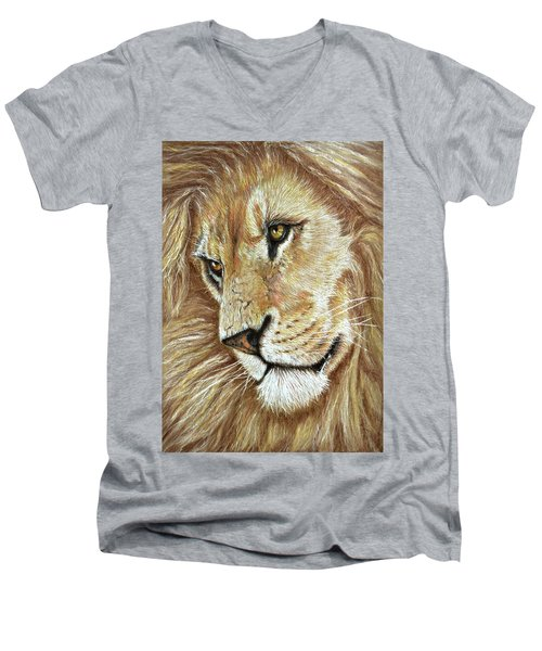 Men's V-Neck T-Shirt featuring the drawing King Of The Jungle by Heidi Kriel