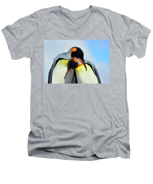 King Penguin Men's V-Neck T-Shirt