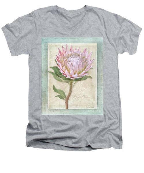 Men's V-Neck T-Shirt featuring the painting King Protea Blossom - Vintage Style Botanical Floral 1 by Audrey Jeanne Roberts