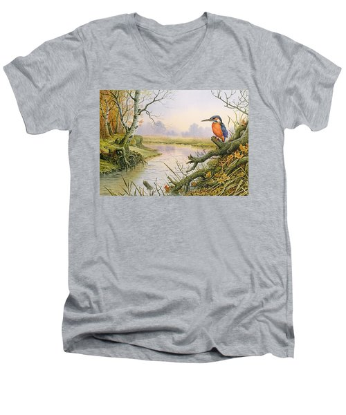 Kingfisher  Autumn River Scene Men's V-Neck T-Shirt
