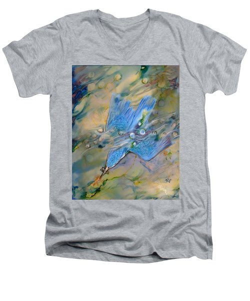 Men's V-Neck T-Shirt featuring the painting Kingfisher Dive by Ryn Shell