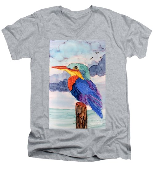 Kingfisher On Post Men's V-Neck T-Shirt