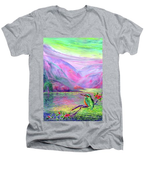 Kingfisher, Shimmering Streams Men's V-Neck T-Shirt by Jane Small